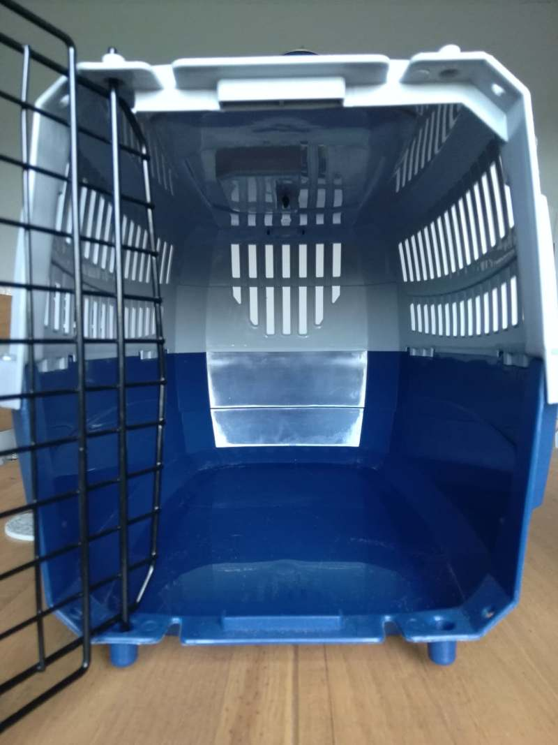 Cat carrier from Argos with door open
