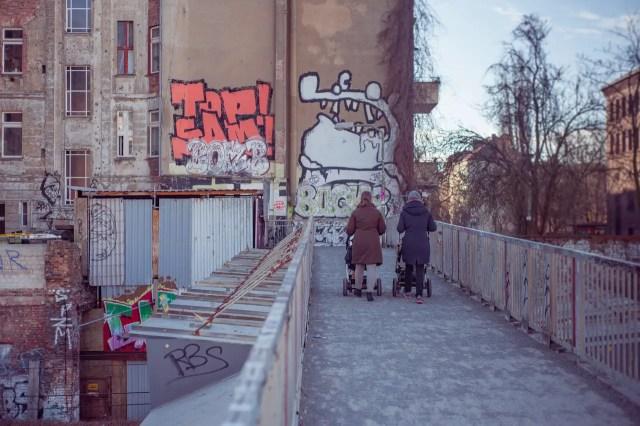 women pushing cat strollers over an urban bridge