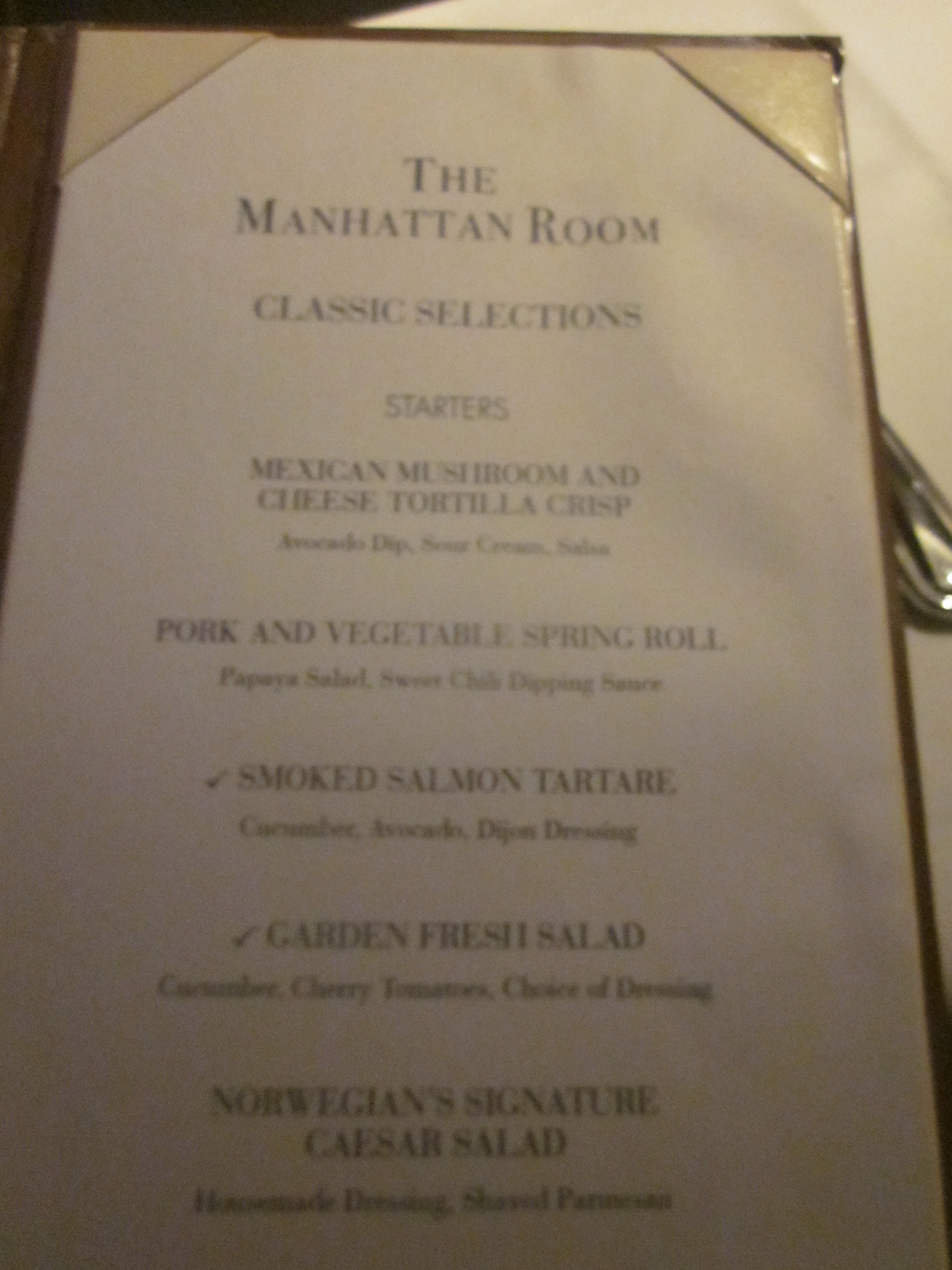 Norwegian Epic Manhattan Room Menu