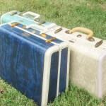 Vintage Samsonite Luggage Suitcases Blue Beige Green