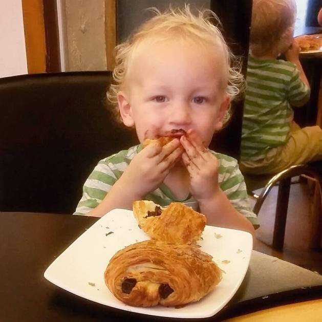 Croissant eating