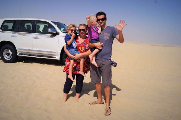 Doha stopover with kids - dune bashing