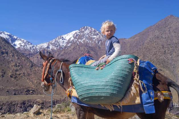 Riding a donkey in the Atlas Mountains