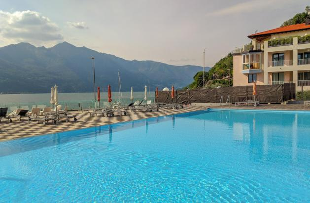 swimming pool with mountains in background