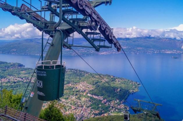 bucket lift overlooking Lake Maggiore