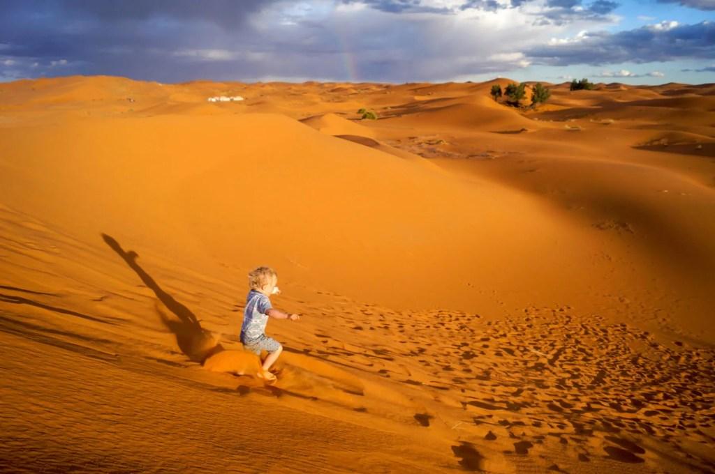 Running down sand dune
