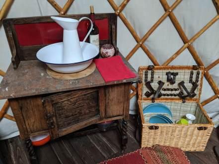 wash basin and jug in yurt