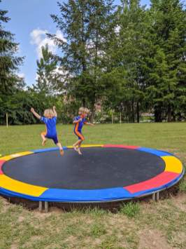 two boys on a trampoline