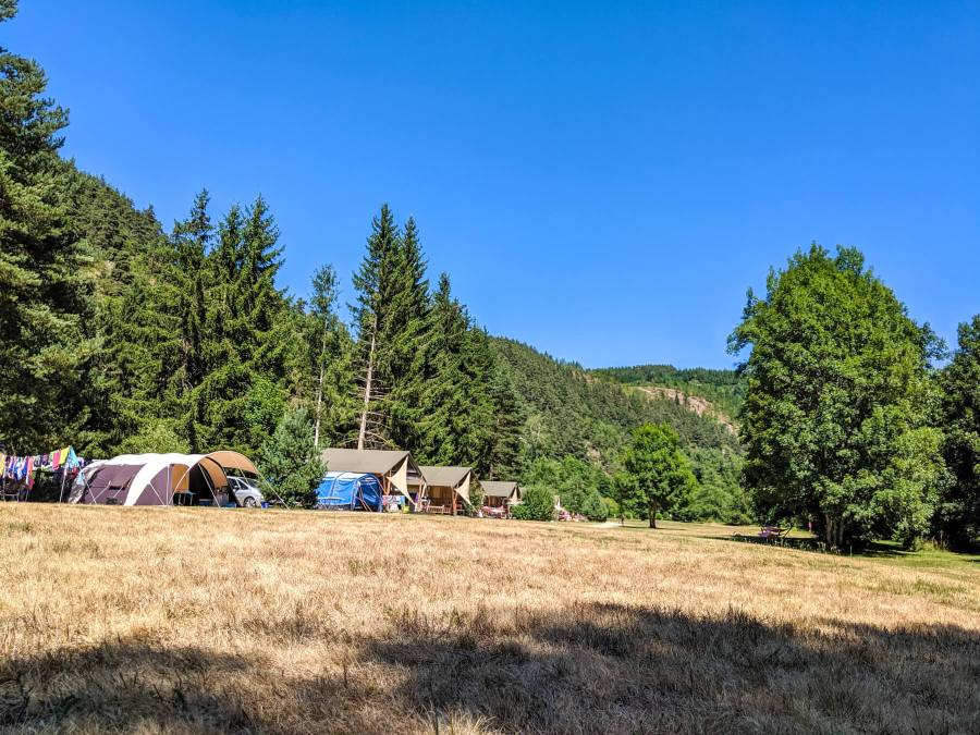 camp ground with blue sky