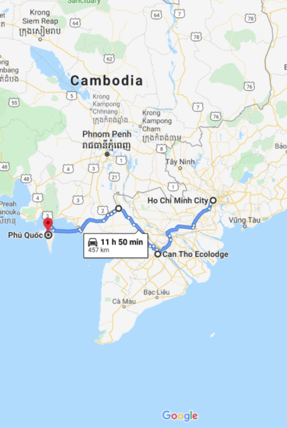 South Vietnam itinerary map
