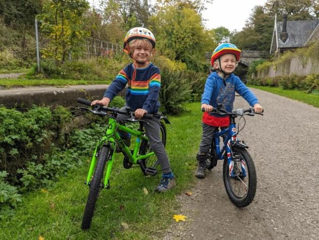 boys on their Frog bikes along the Monsal Trail, Peak District