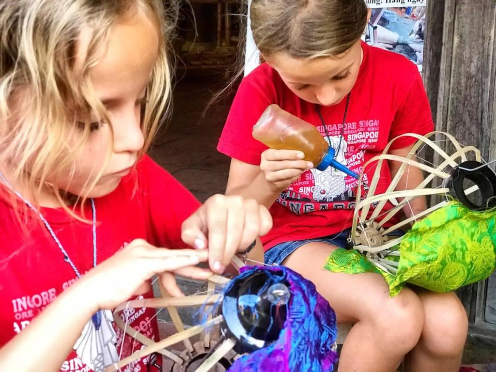 kids making lanterns in Hoi An