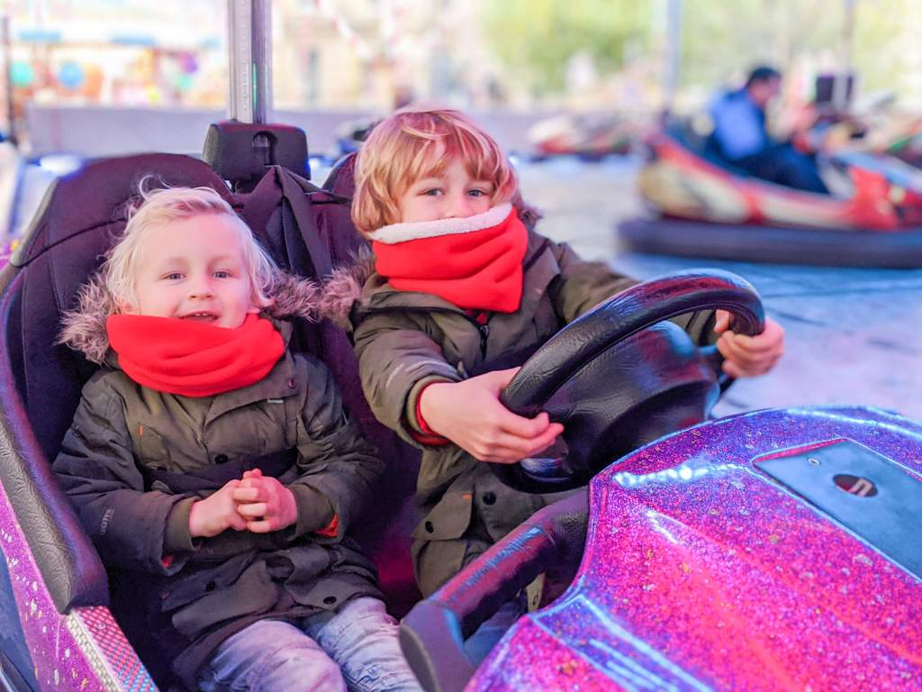 kids on bumper cars