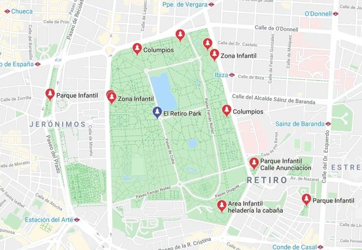 Playgrounds in and around El Retiro Park, Madrid