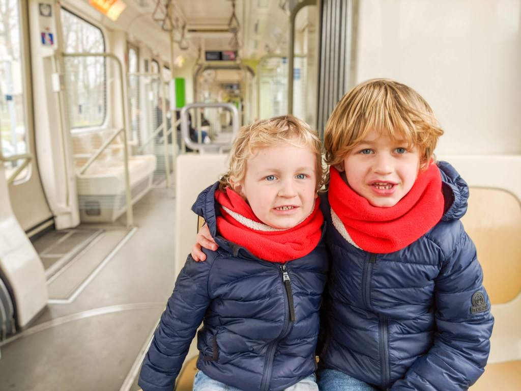 on the tram in Hannover with kids