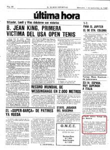 Aqui o anúncio da contratação de Somaio no El Mundo Deportivo, 1 de setembro de 1982