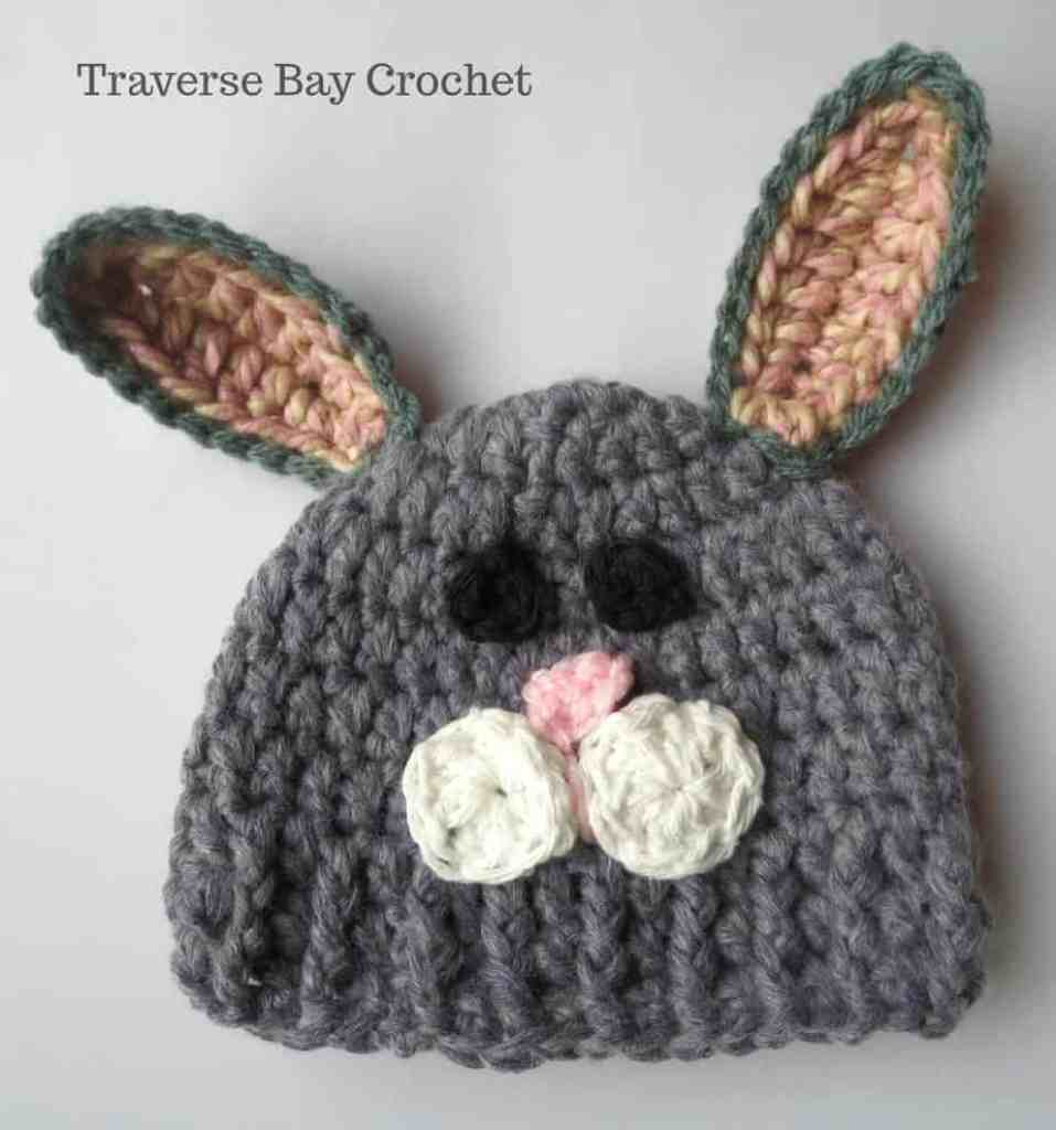 Crochet bunny hat crochet to create a textured look the face is made with all yarn no buttons to keep your little one safe the free pattern for newborn and toddler dt1010fo