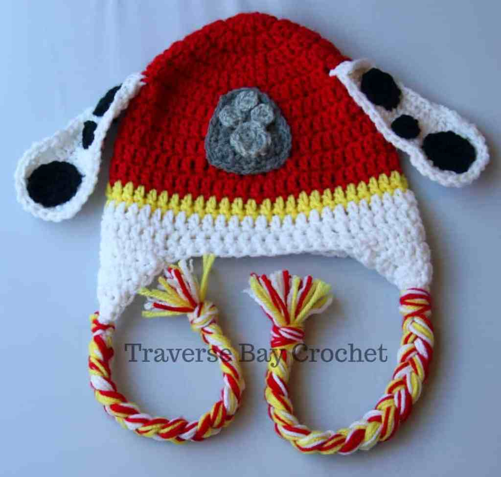 crochet Marshall Paw Patrol toddler hat and mittens set  b6c11656777