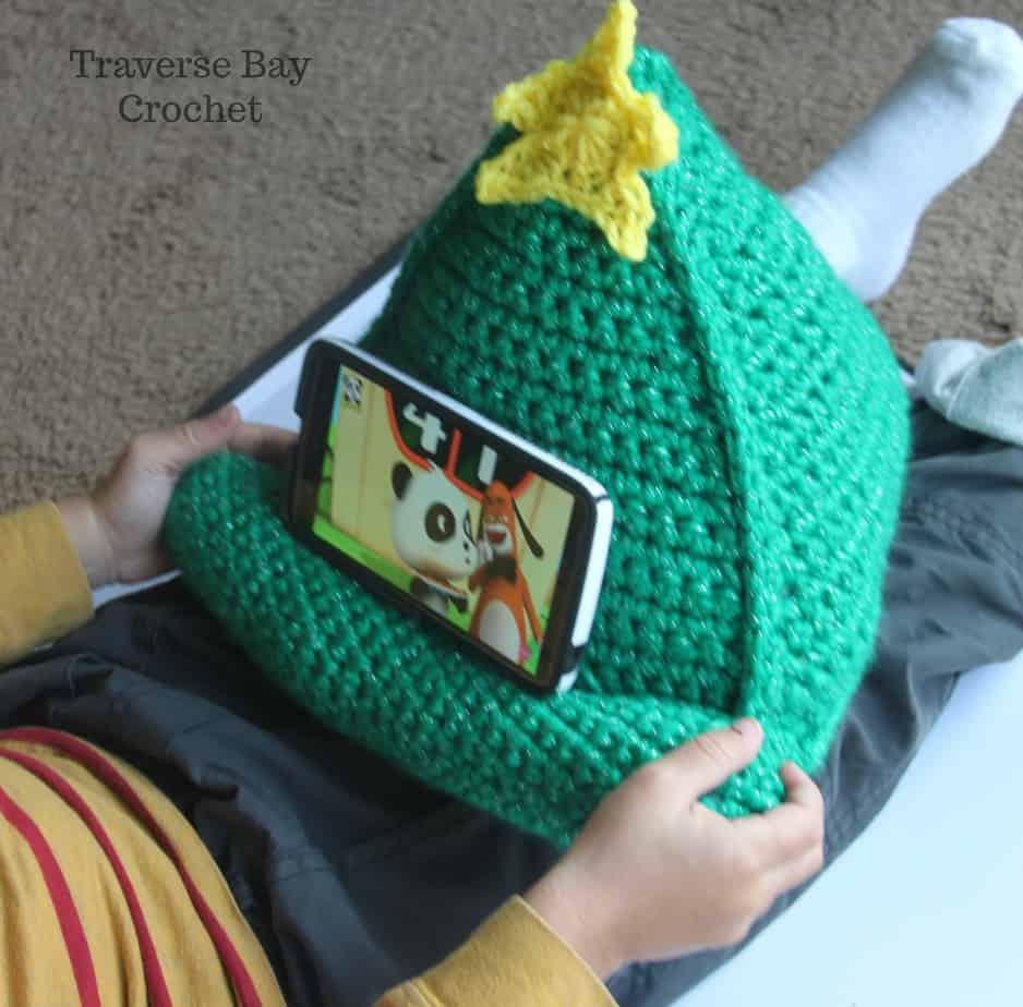 Crochet Christmas tree phone iPad tablet stand |