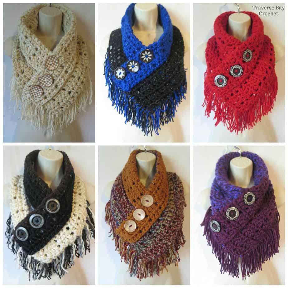 Crochet Fringe Triangle Scarf Free Pattern  