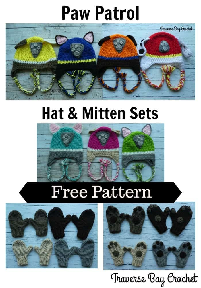 Crochet Paw Patrol Hat   Mitten Sets  98bb7bc8382