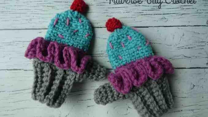 Toddler Crochet Cupcake Mittens |