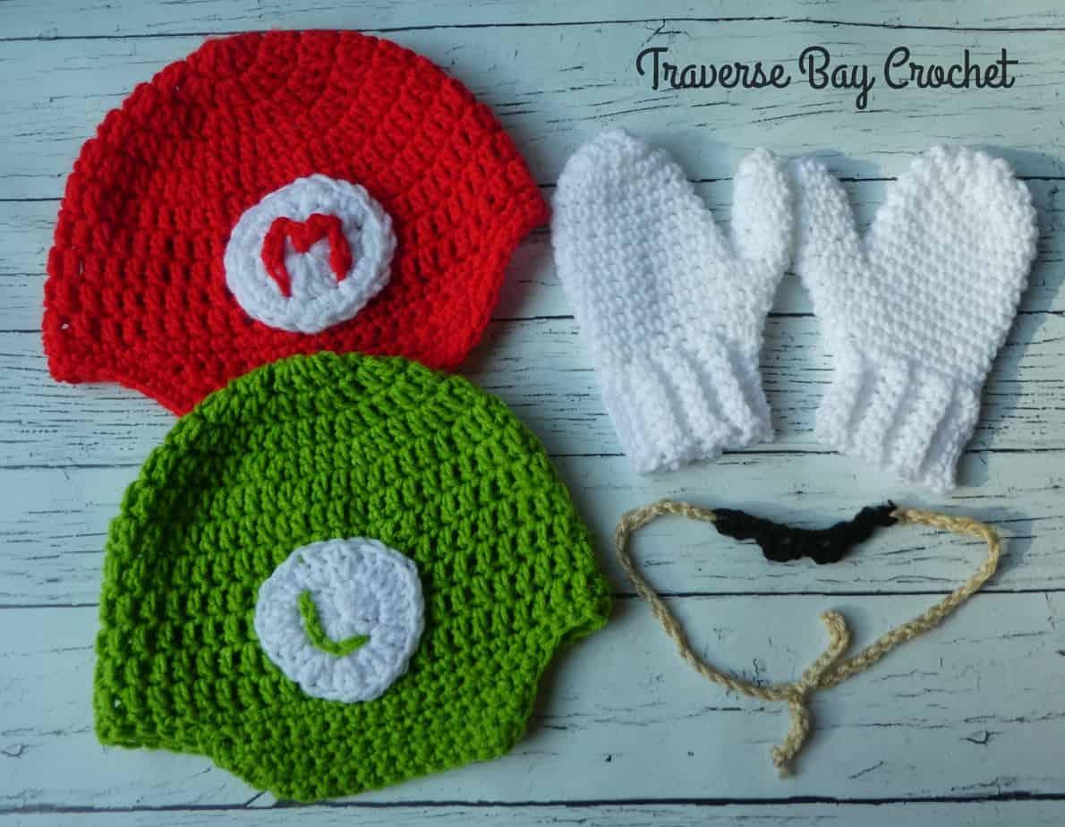 Mario And Luigi Hat Mustache Mitten Crochet Costume
