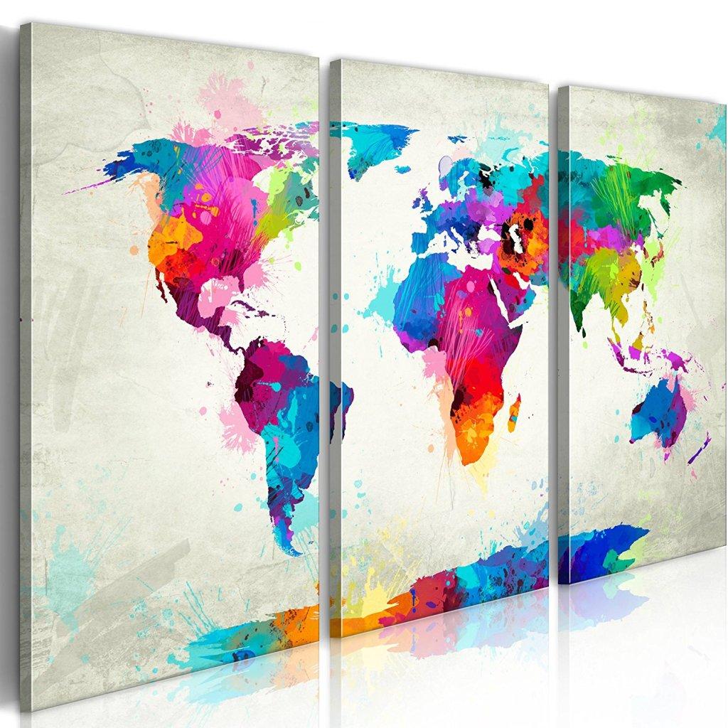 Carte du monde - Impression sur toile