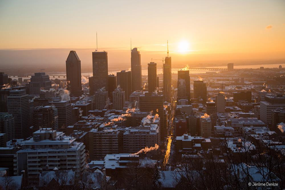 Lever de soleil en hiver à montréal