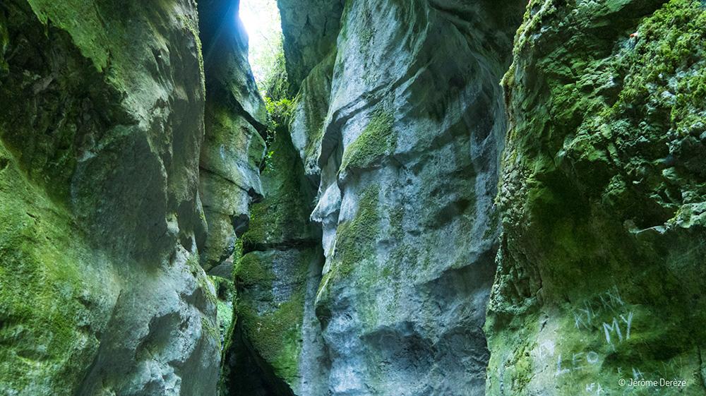 Faire un voyage à Annecy - Des visages dans les Gorges du Fier