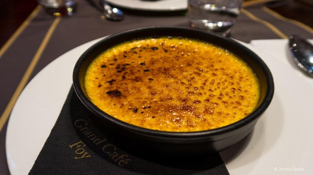 Crème brûlée bergamote - grand café Foy sur la Place Stanislas