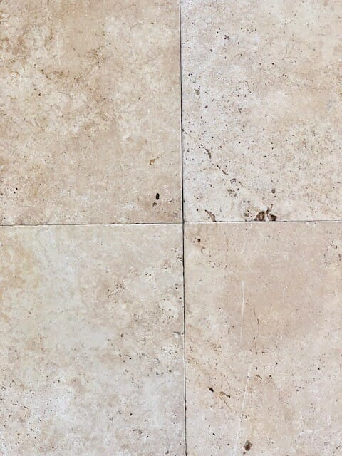 ivory travertine tiles with a tumbled