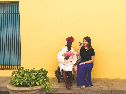 Old Cuban woman and me