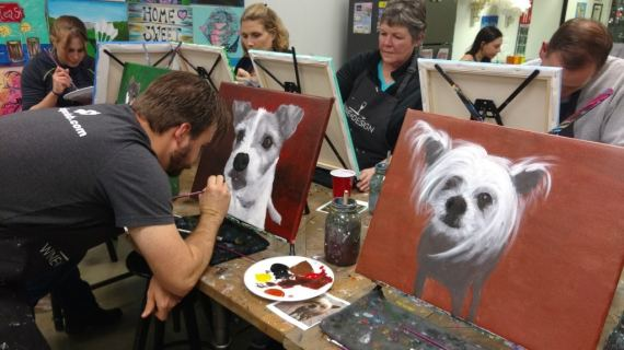 Painting Mia at Wine & Design with KC Dog Club