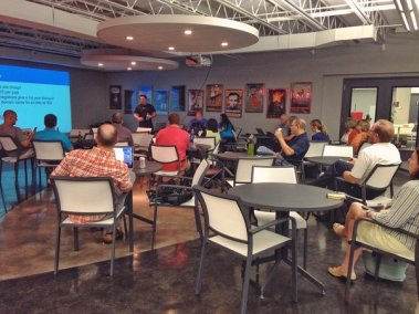Travis Pflanz presenting at WordPress KC