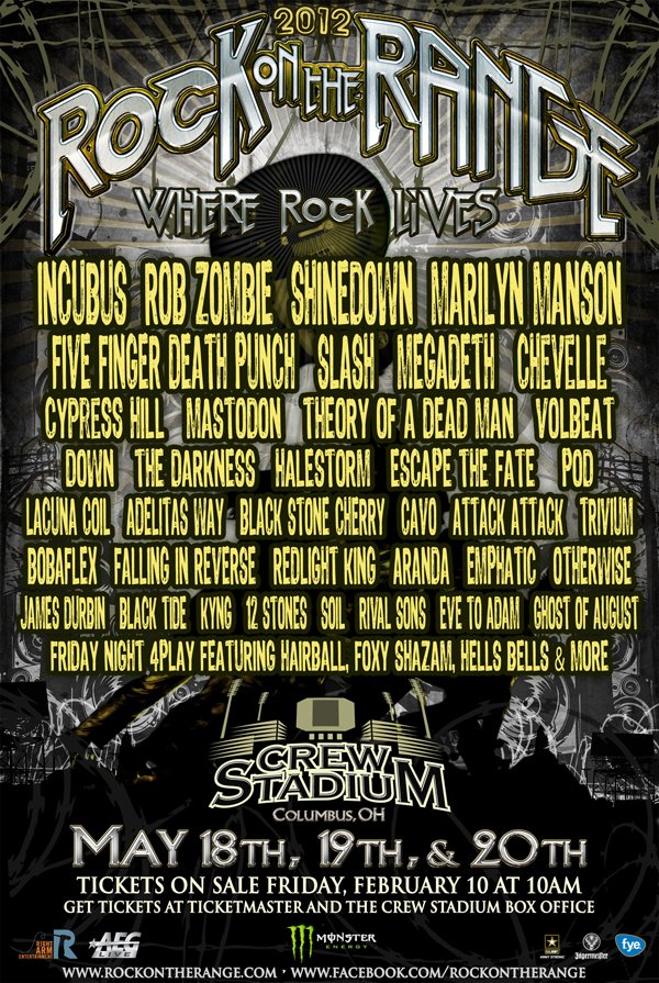 2012 Rock On The Range Lineup