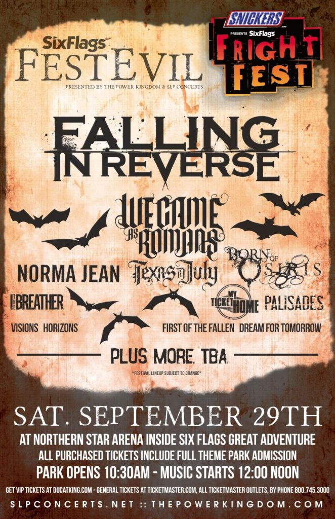 Falling In Reverse, We Came As Romans, Norma Jean And More To Play Six Flags FestEVIL