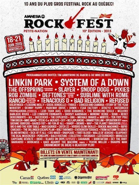 System of a Down, Deftones, Linkin Park And More To Play 2015 Amnesia Rockfest