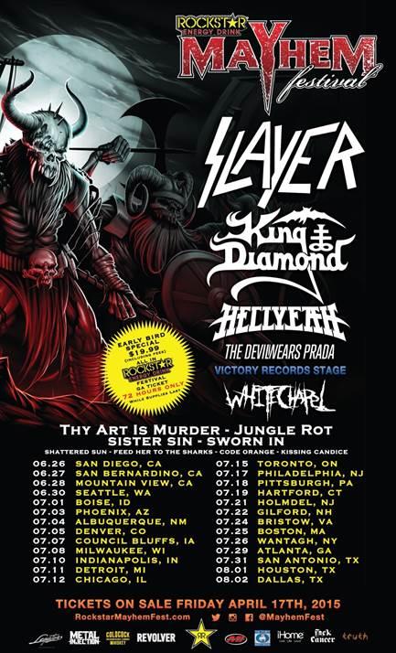 Slayer, The Devil Wears Prada, Hellyeah, More Announced For Mayhem Festival 2015