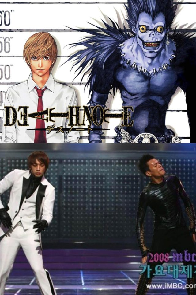 Rain dan Park Jinyoung mirip dengan Light dan Ryuk di anime Death Note - Wow, Para Idol K-Pop ini Mirip Banget Dengan Karakter Anime