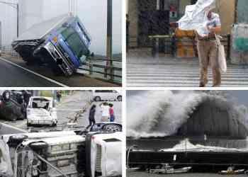 berbagai kerusakan yang terjadi akibat toopan jebi jepang - Mengerikan! Dahsyatnya Topan Jebi Jepang Membuat Mobil dan Rumah Beterbangan