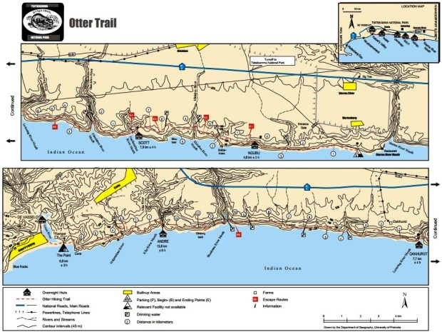 Otter Trail Map South African Hike