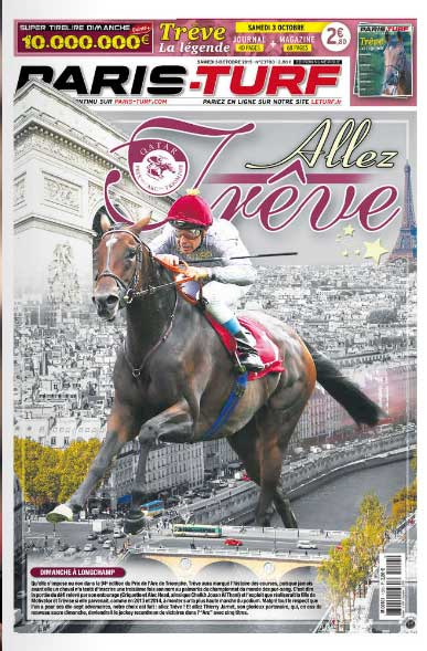 Hele forsidne på væddeløbsavisen Paris Turf er tilegnet Treve!