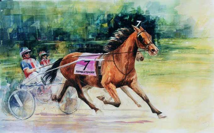 Den amreikanske kunstner Rebecca Pearl har malet dette maleri af Windylane Hanover ved sejren i Hambletonian Oaks.