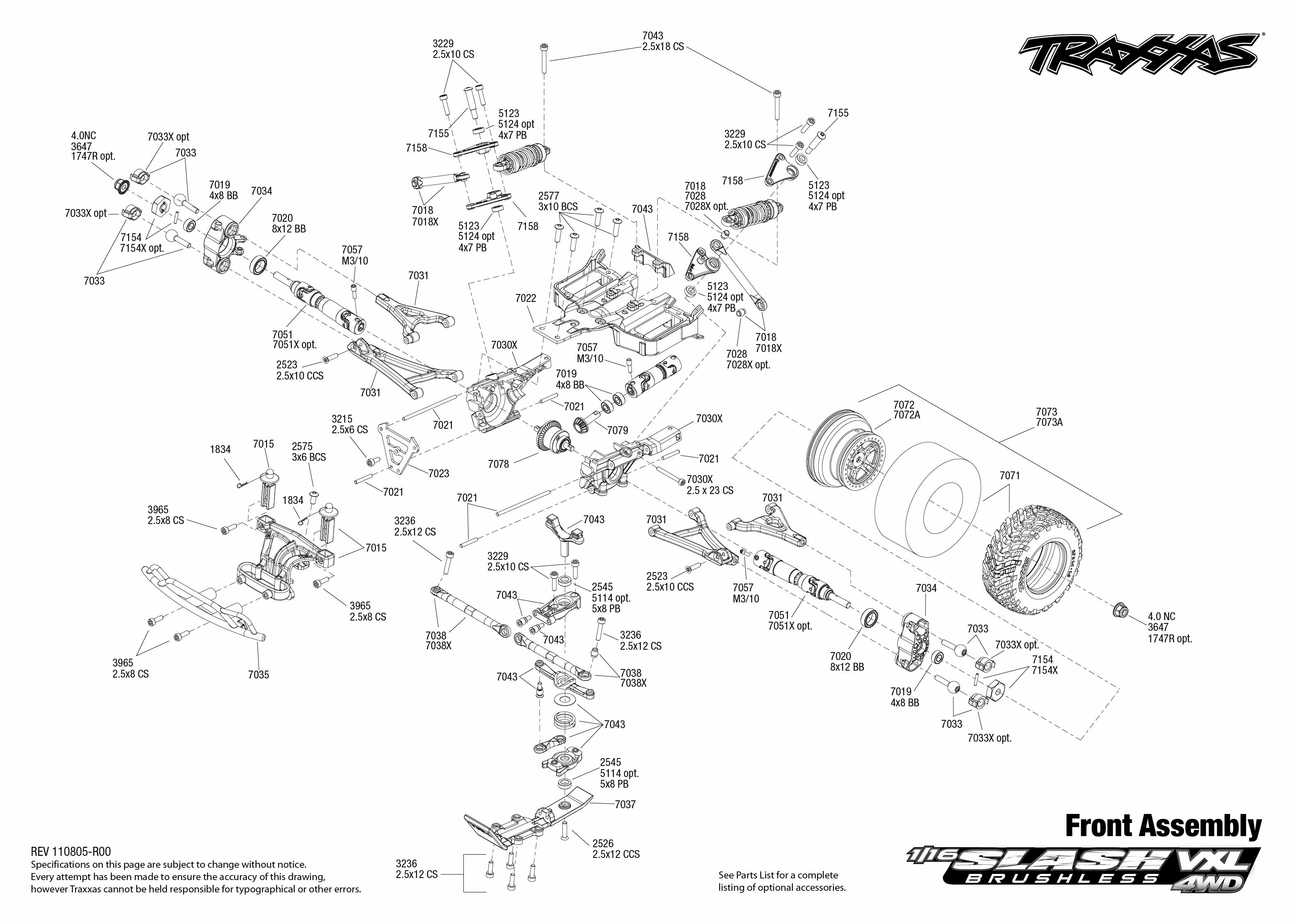 Front Exploded View 1 16 Slash 4x4 Vxl
