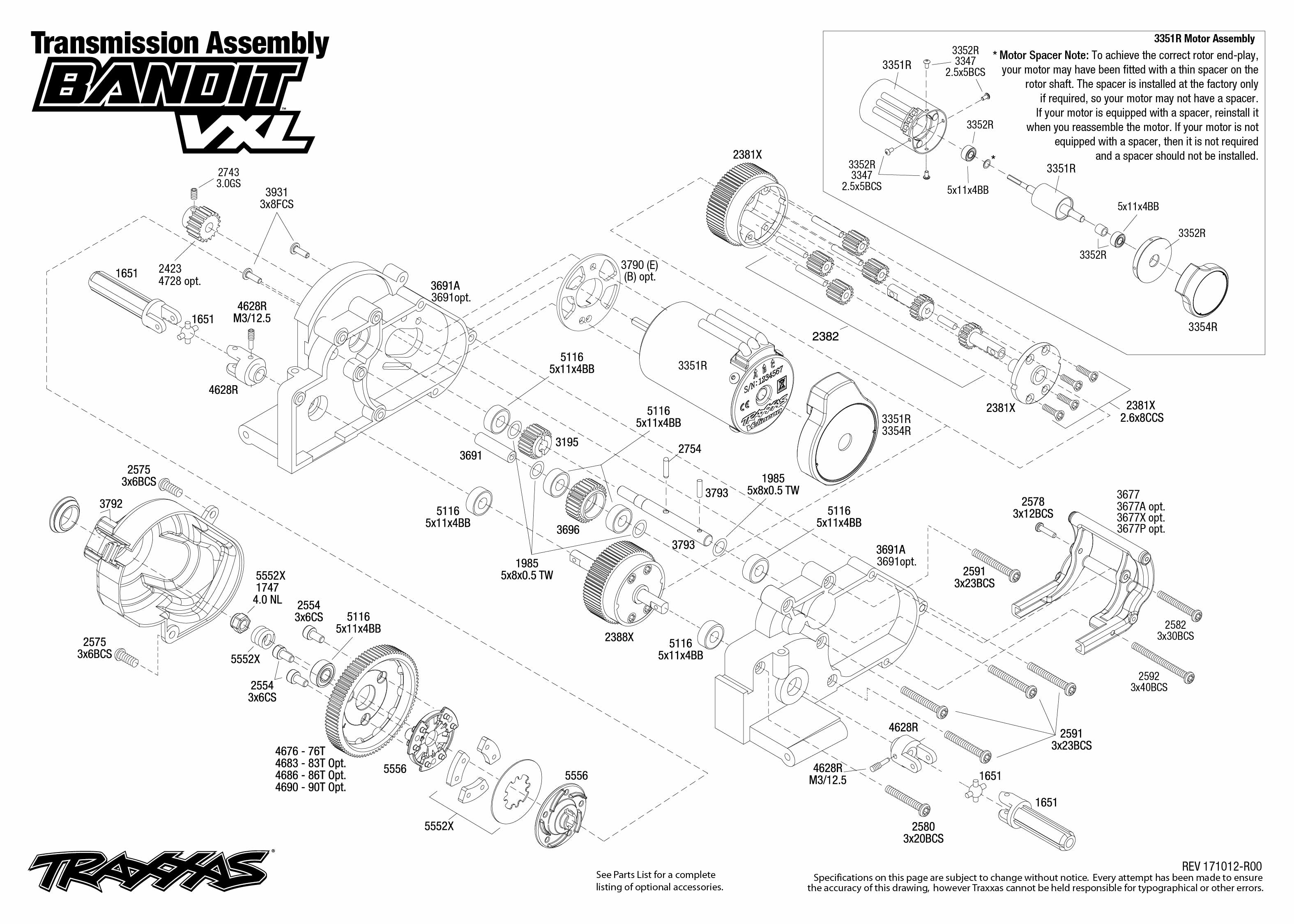 Bandit Vxl 4 Transmission Assembly Exploded View