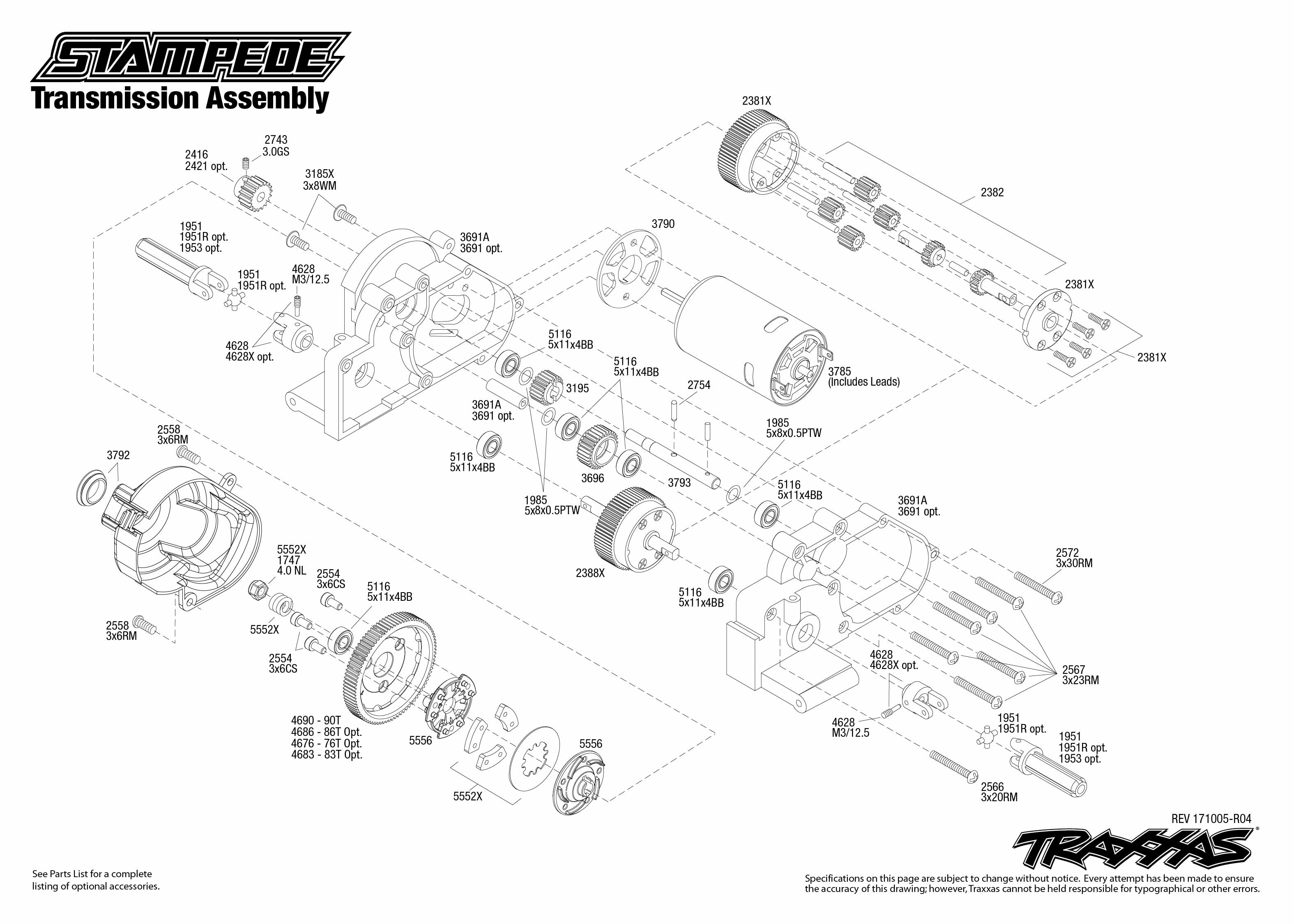 Stampede 1 Transmission Assembly Exploded View