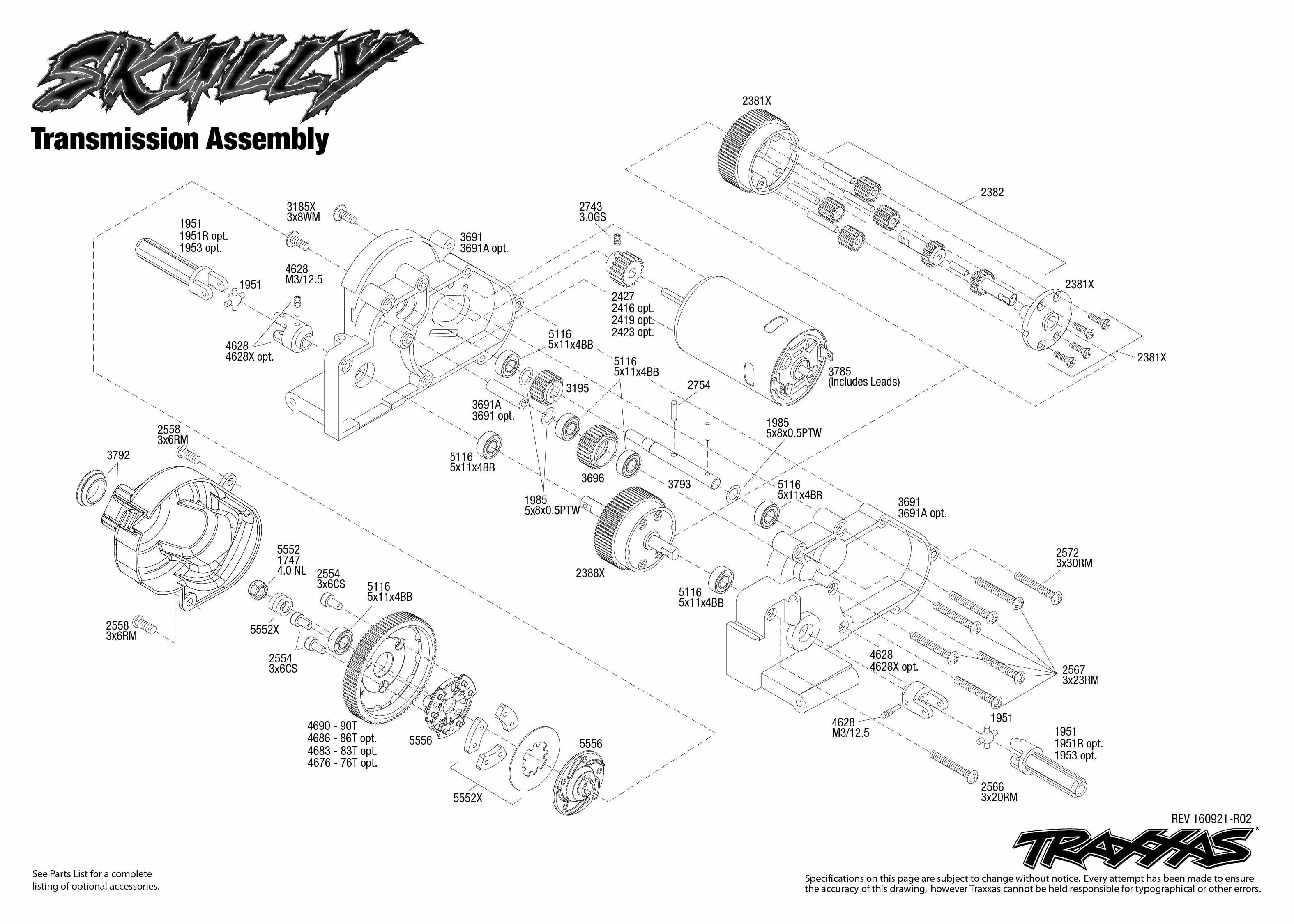 Skully 1 Transmission Assembly Exploded View