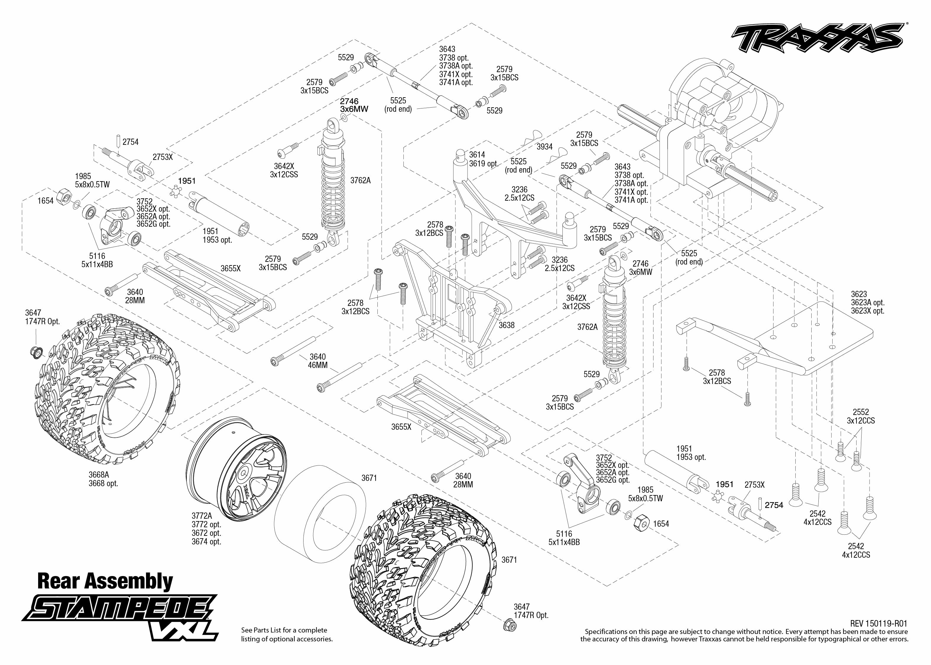 Stampede Vxl 1 Rear Assembly Exploded View