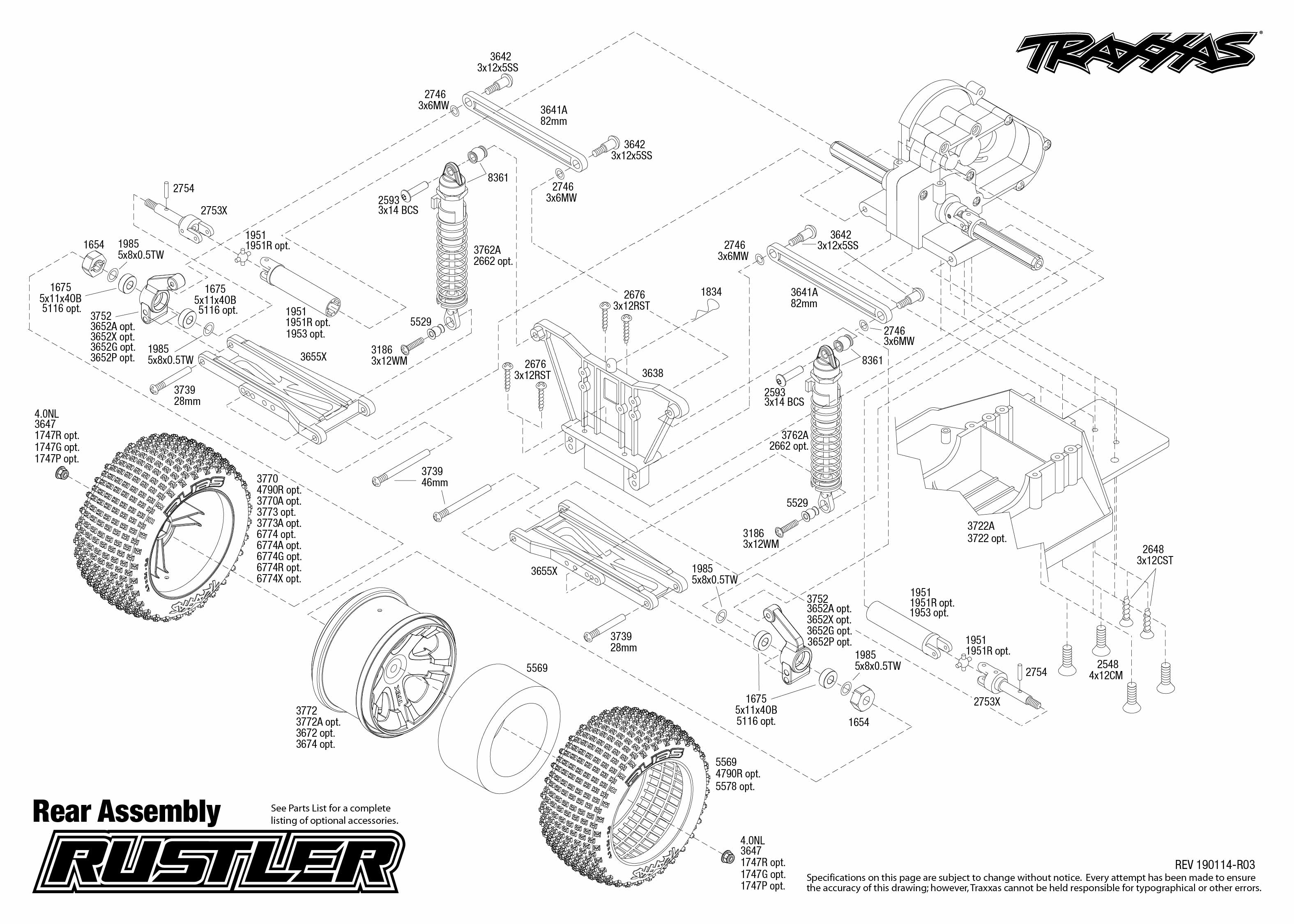 Rustler 4 Rear Assembly Exploded View